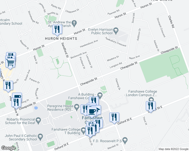 map of restaurants, bars, coffee shops, grocery stores, and more near 17 Goldwick Crescent in London