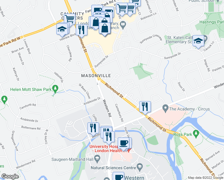 map of restaurants, bars, coffee shops, grocery stores, and more near 541 Canterbury Road in London