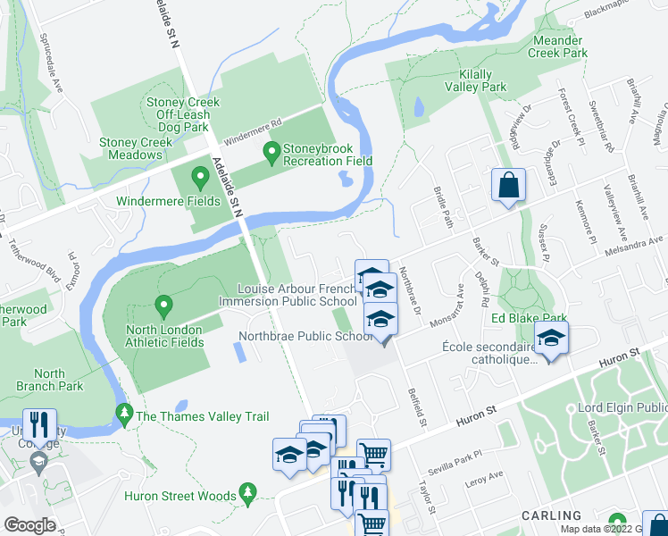 map of restaurants, bars, coffee shops, grocery stores, and more near 754 Kipps Lane in London