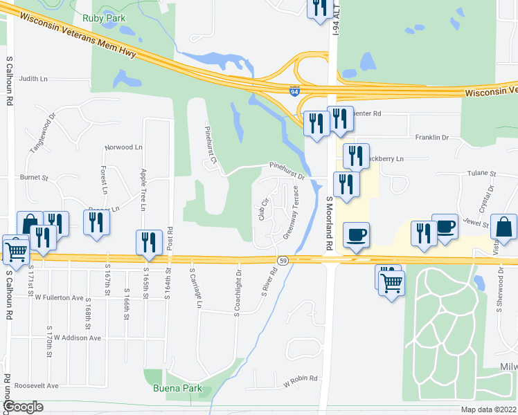 map of restaurants, bars, coffee shops, grocery stores, and more near 1200 Club Circle in Brookfield