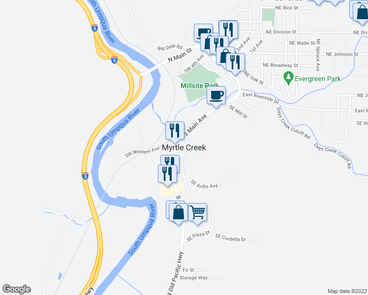 map of restaurants, bars, coffee shops, grocery stores, and more near in Myrtle Creek