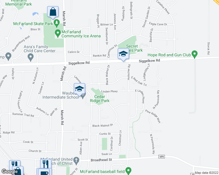 map of restaurants, bars, coffee shops, grocery stores, and more near 5205 Black Walnut Drive in McFarland