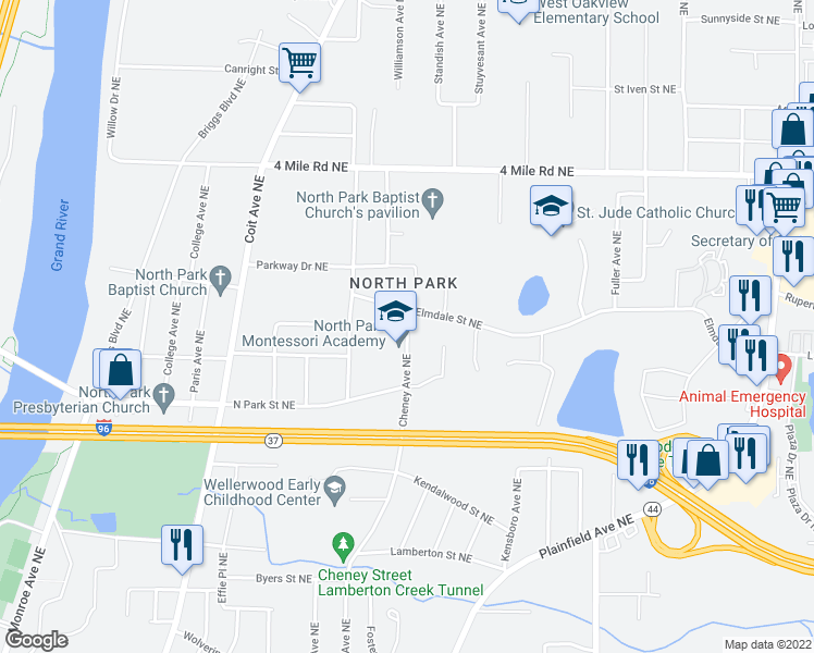 map of restaurants, bars, coffee shops, grocery stores, and more near 900 Elmdale Street Northeast in Grand Rapids