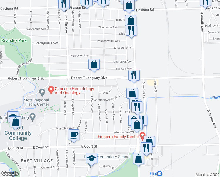 map of restaurants, bars, coffee shops, grocery stores, and more near 2419 Gold Avenue in Flint