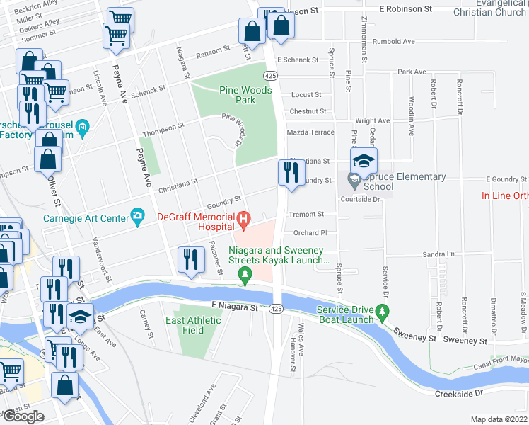 map of restaurants, bars, coffee shops, grocery stores, and more near 468 Tremont Street in North Tonawanda