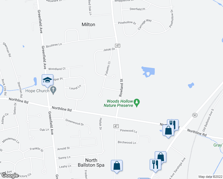 map of restaurants, bars, coffee shops, grocery stores, and more near 108 Tompion Way in Ballston Spa
