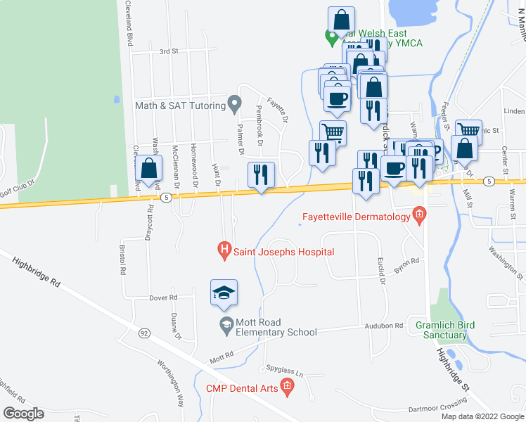 map of restaurants, bars, coffee shops, grocery stores, and more near 7220 East Genesee Street in Fayetteville