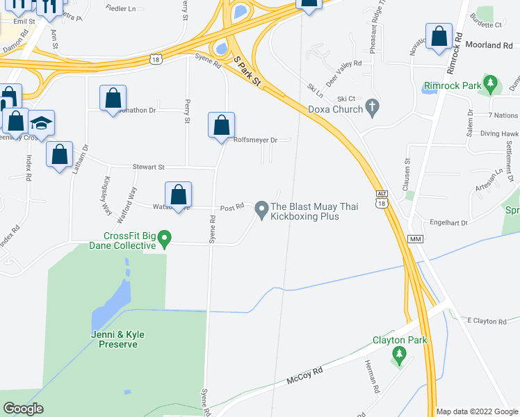 map of restaurants, bars, coffee shops, grocery stores, and more near 607 Post Road in Madison