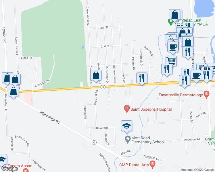 map of restaurants, bars, coffee shops, grocery stores, and more near 9 McClennan Drive in Fayetteville