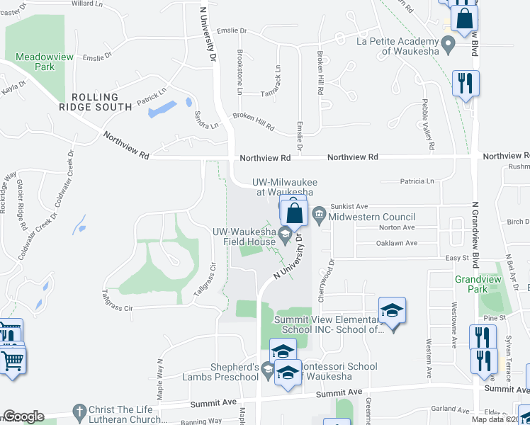 map of restaurants, bars, coffee shops, grocery stores, and more near in Waukesha