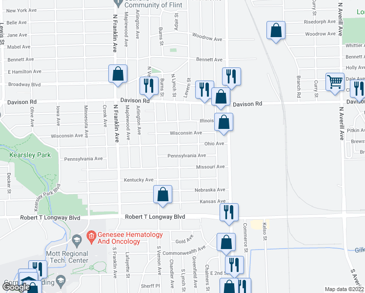 map of restaurants, bars, coffee shops, grocery stores, and more near 1418 North Lynch Street in Flint