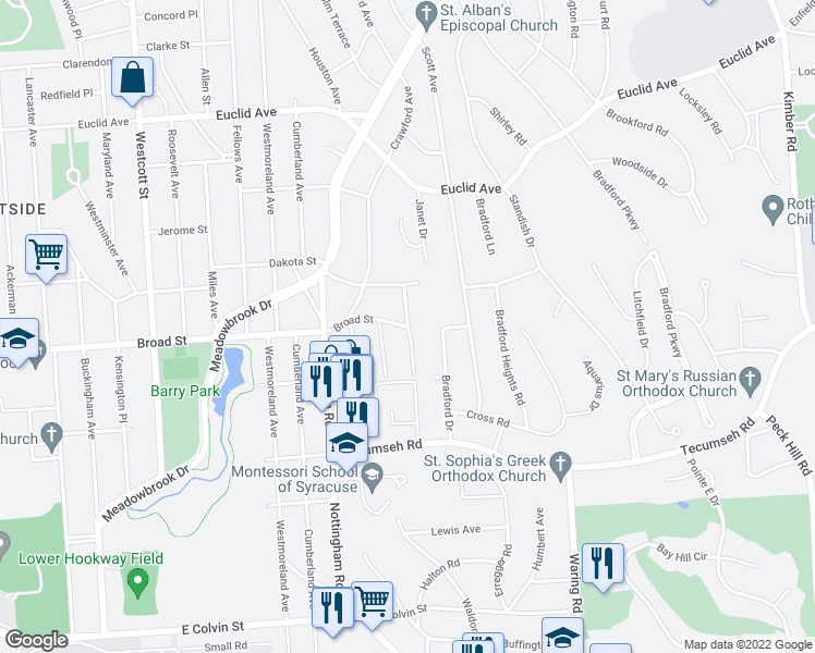 map of restaurants, bars, coffee shops, grocery stores, and more near Croyden Road in Syracuse