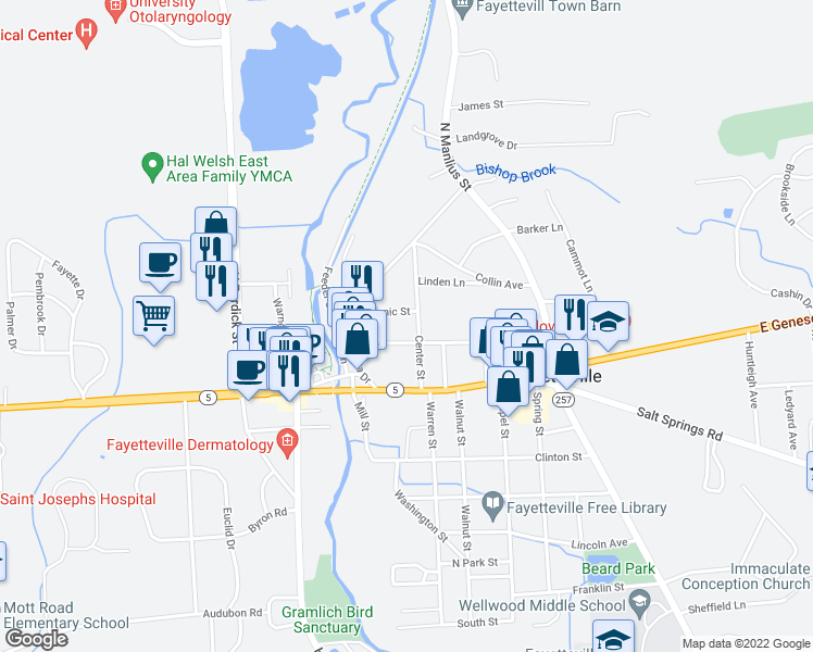 map of restaurants, bars, coffee shops, grocery stores, and more near 110 Elm Street in Fayetteville