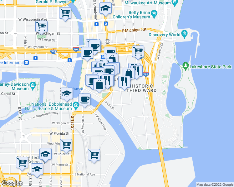 map of restaurants, bars, coffee shops, grocery stores, and more near 425 East Menomonee Street in Milwaukee