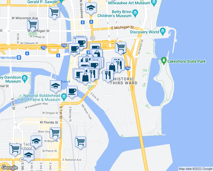 map of restaurants, bars, coffee shops, grocery stores, and more near 144 North Jefferson Street in Milwaukee