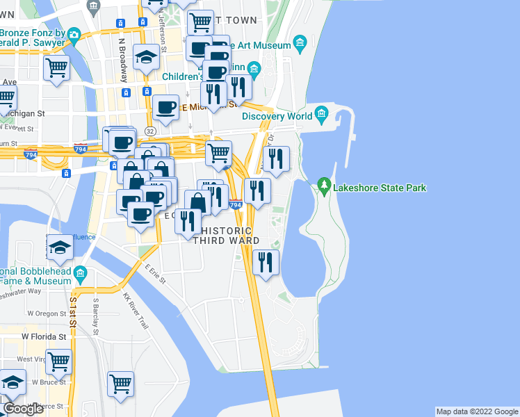 map of restaurants, bars, coffee shops, grocery stores, and more near 200 N Harbor Dr in Milwaukee