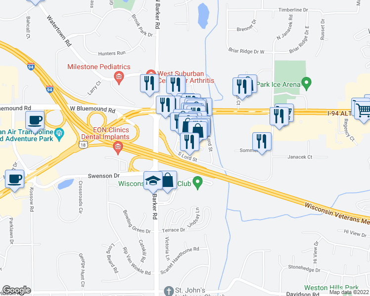 map of restaurants, bars, coffee shops, grocery stores, and more near 1650 North Brookfield Road in Brookfield