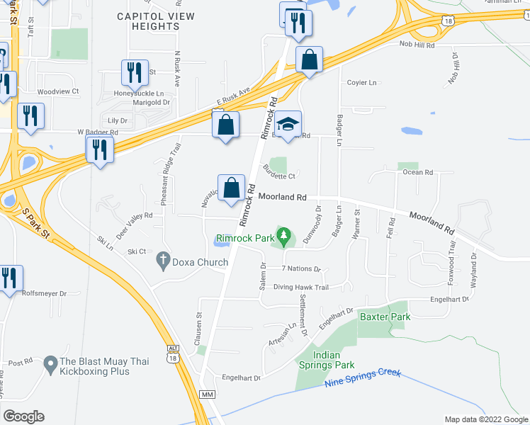 map of restaurants, bars, coffee shops, grocery stores, and more near 405 Moorland Road in Madison