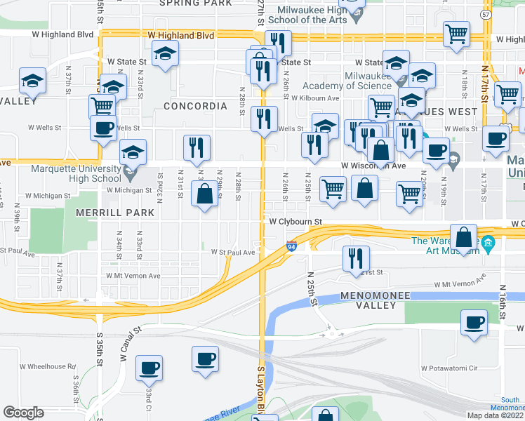 map of restaurants, bars, coffee shops, grocery stores, and more near 509-511 North 27th Street in Milwaukee