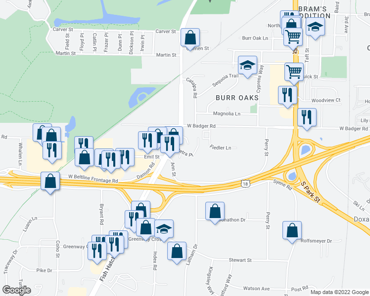 map of restaurants, bars, coffee shops, grocery stores, and more near 1118 Petra Place in Madison