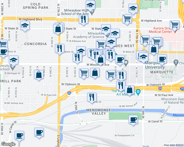 map of restaurants, bars, coffee shops, grocery stores, and more near 617 North 23rd Street in Milwaukee