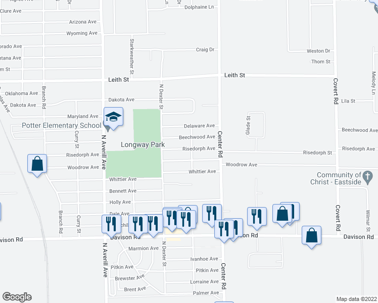 map of restaurants, bars, coffee shops, grocery stores, and more near 3746 Risedorph Avenue in Flint