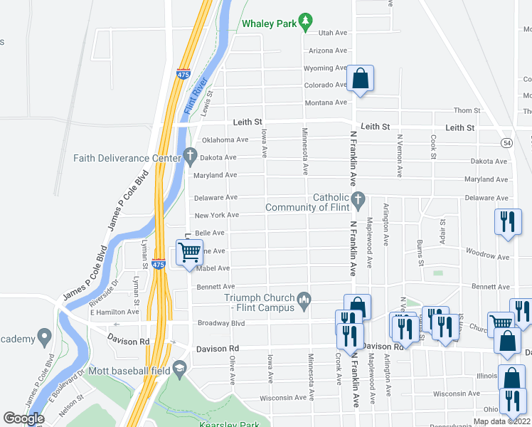 map of restaurants, bars, coffee shops, grocery stores, and more near Iowa Ave & New York Ave in Flint