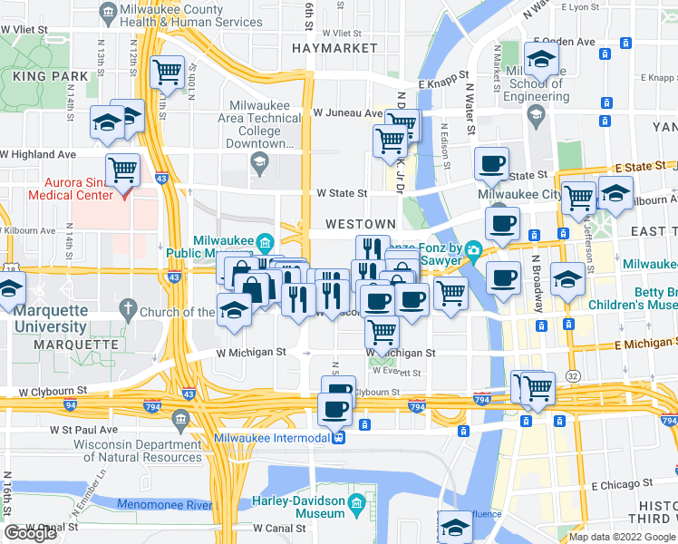map of restaurants, bars, coffee shops, grocery stores, and more near 500 West Wells Street in Milwaukee