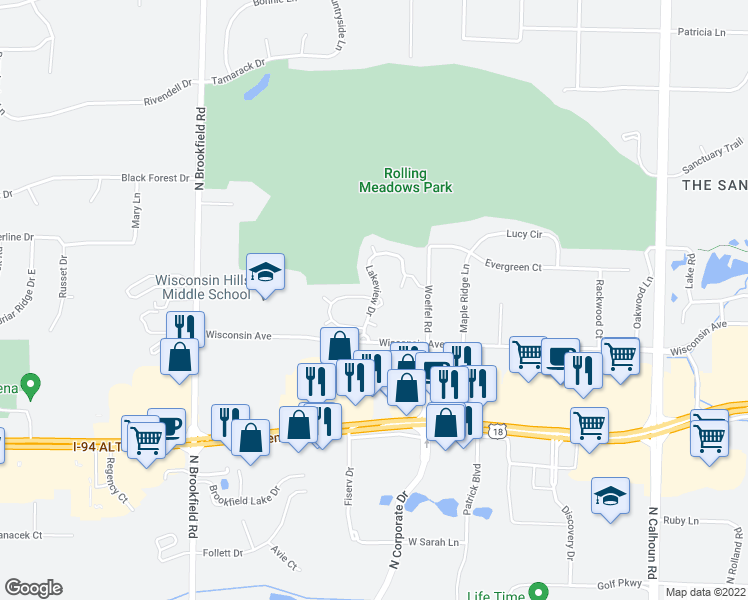 map of restaurants, bars, coffee shops, grocery stores, and more near 0 South Brookfield Road in Brookfield