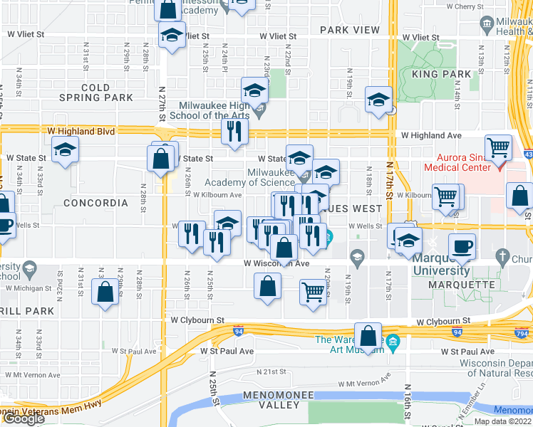map of restaurants, bars, coffee shops, grocery stores, and more near 835 North 23rd Street in Milwaukee