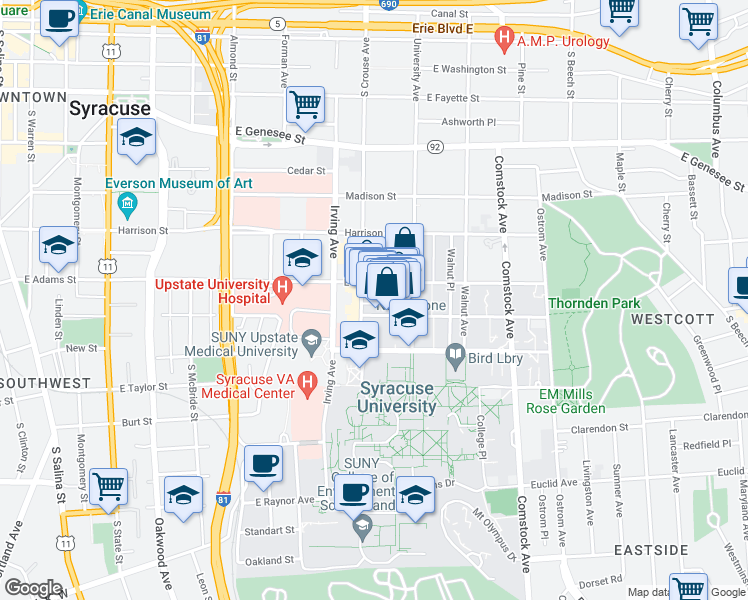 map of restaurants, bars, coffee shops, grocery stores, and more near 727 South Crouse Avenue in Syracuse
