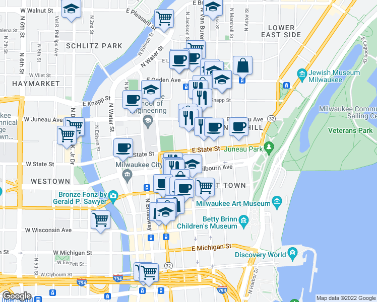 map of restaurants, bars, coffee shops, grocery stores, and more near North Jackson Street & East State Street in Milwaukee