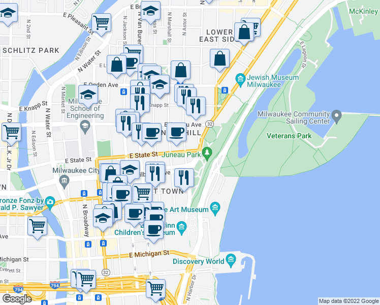 map of restaurants, bars, coffee shops, grocery stores, and more near 1323 East Brady Street in Milwaukee