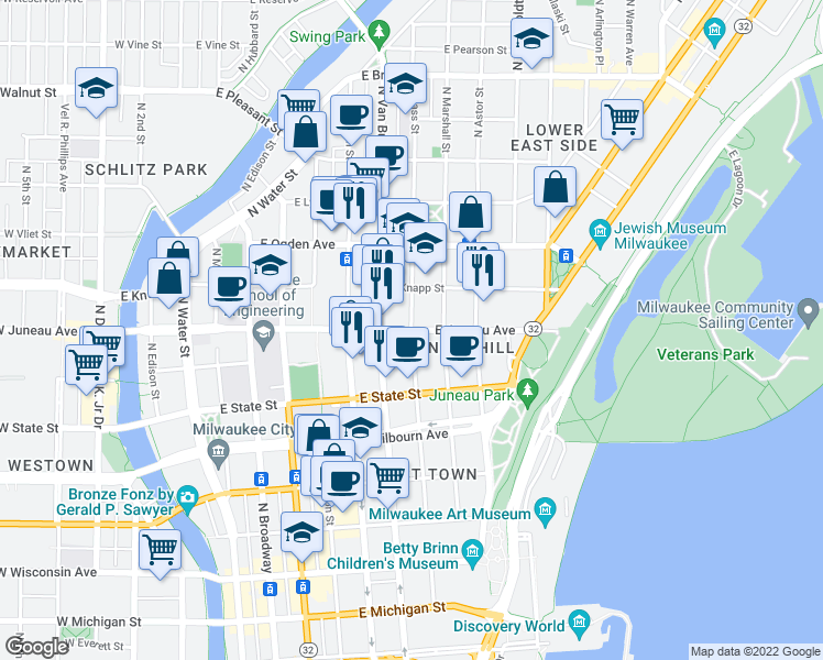 map of restaurants, bars, coffee shops, grocery stores, and more near E Juneau Ave & N Cass St in Milwaukee