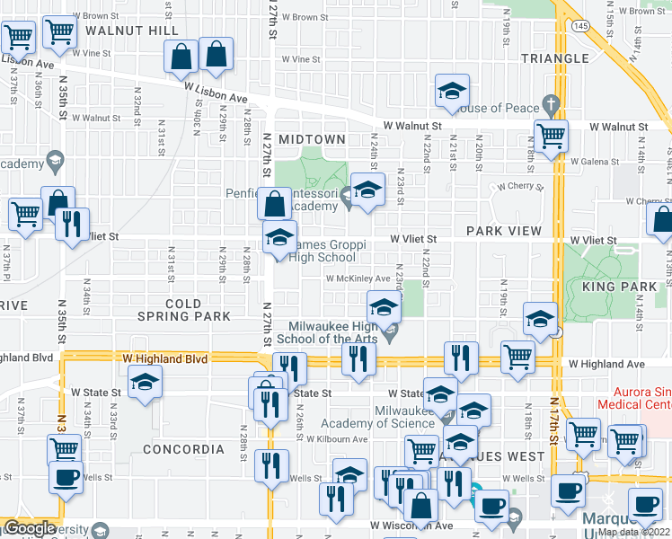 map of restaurants, bars, coffee shops, grocery stores, and more near 1246-1248 North 25th Street in Milwaukee