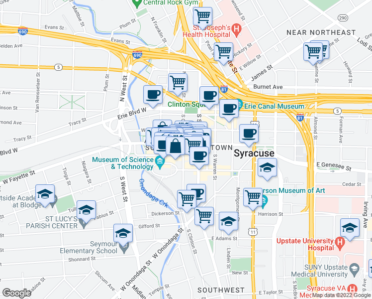 map of restaurants, bars, coffee shops, grocery stores, and more near 309 South Clinton Street in Syracuse
