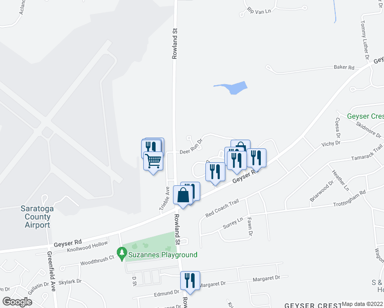 map of restaurants, bars, coffee shops, grocery stores, and more near 85 Deer Run Drive in Ballston Spa