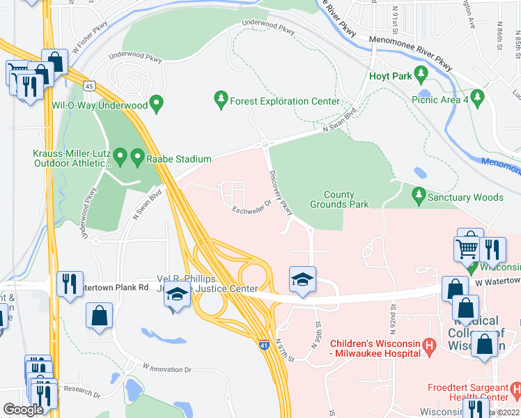 map of restaurants, bars, coffee shops, grocery stores, and more near Eschweiler Drive in Wauwatosa