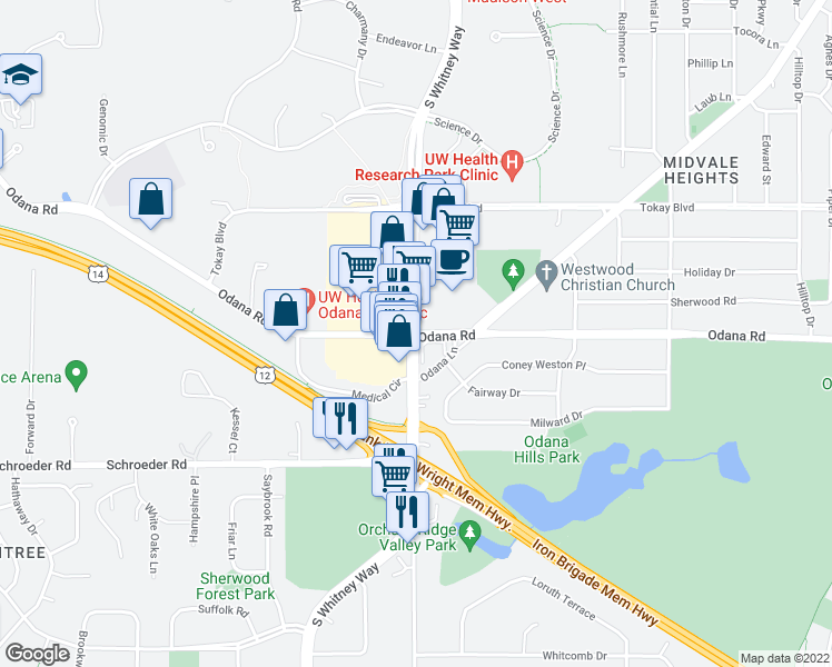 map of restaurants, bars, coffee shops, grocery stores, and more near S Whitney Way & Odana Rd in Madison
