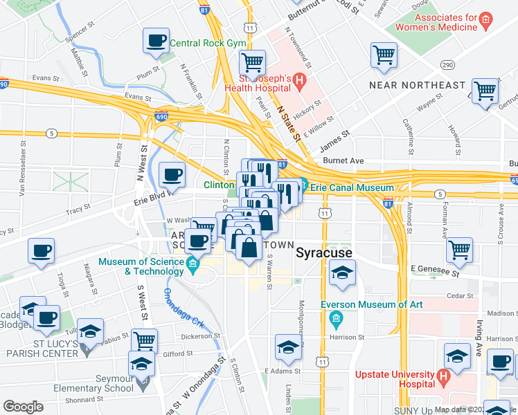 map of restaurants, bars, coffee shops, grocery stores, and more near 126 East Genesee Street in Syracuse