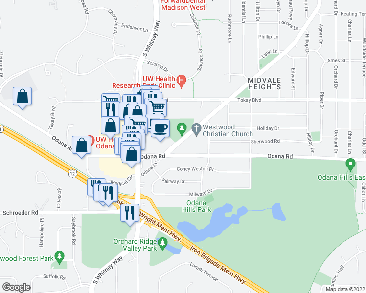 map of restaurants, bars, coffee shops, grocery stores, and more near 5302 Odana Road in Madison