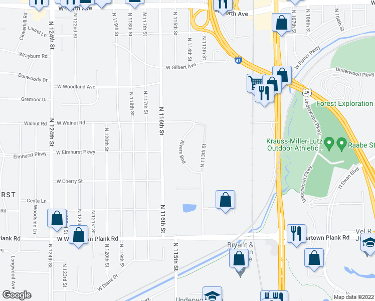 map of restaurants, bars, coffee shops, grocery stores, and more near 1600 Rivers Bend Lane in Wauwatosa