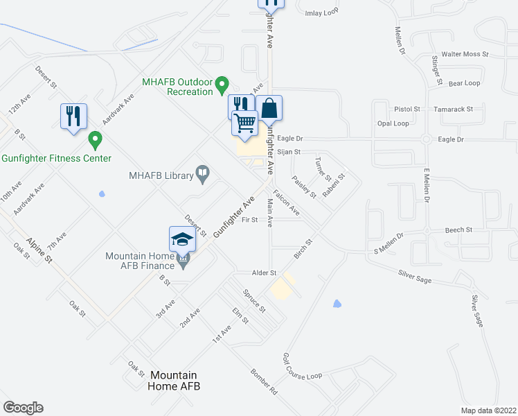 map of restaurants, bars, coffee shops, grocery stores, and more near Fir Street in Mountain Home Air Force Base