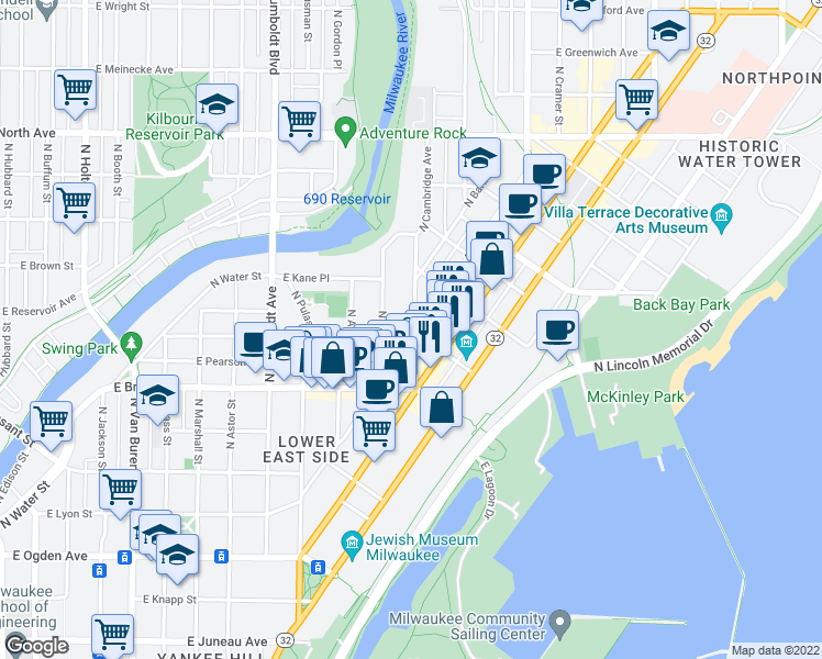 map of restaurants, bars, coffee shops, grocery stores, and more near 1809 North Cambridge Avenue in Milwaukee