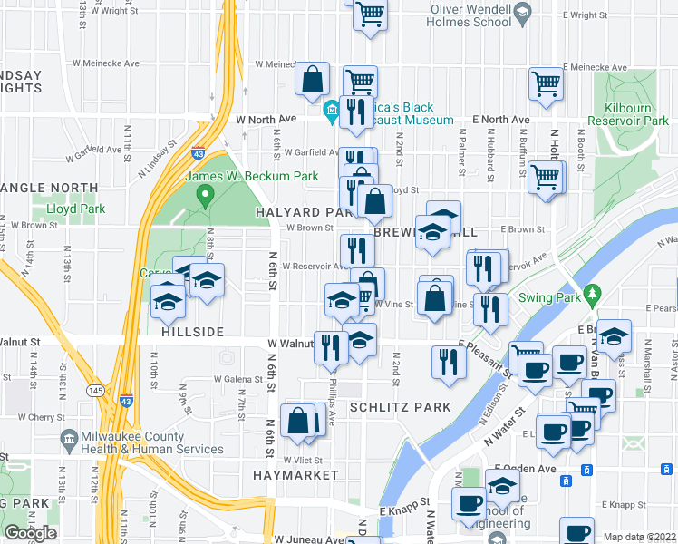 map of restaurants, bars, coffee shops, grocery stores, and more near 1846 Vel R. Phillips Avenue in Milwaukee