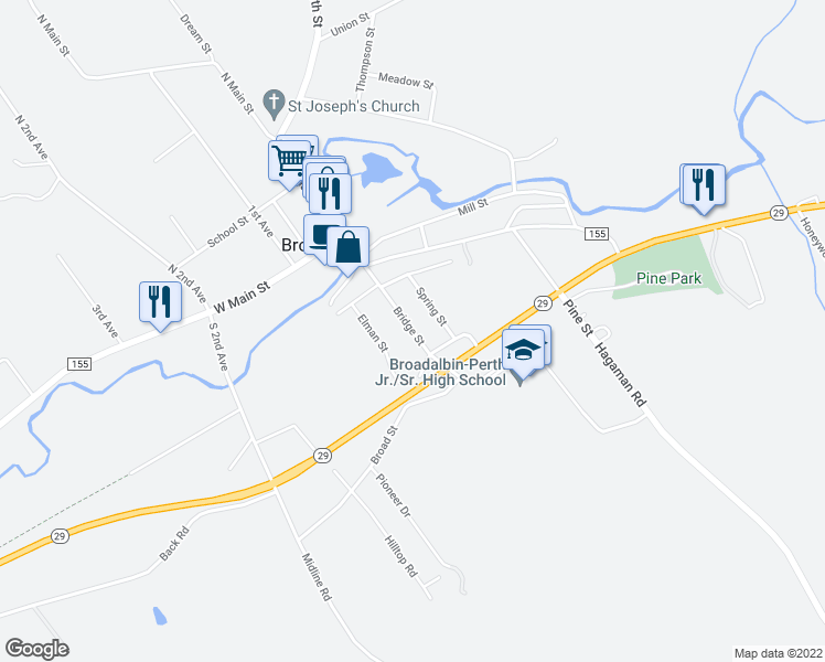 map of restaurants, bars, coffee shops, grocery stores, and more near 62 Bridge Street in Broadalbin