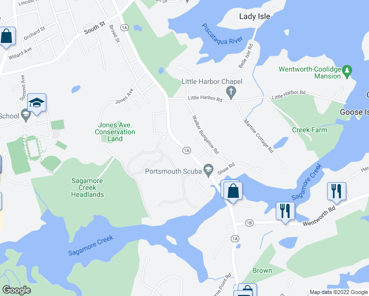 map of restaurants, bars, coffee shops, grocery stores, and more near Sagamore Avenue in Newington