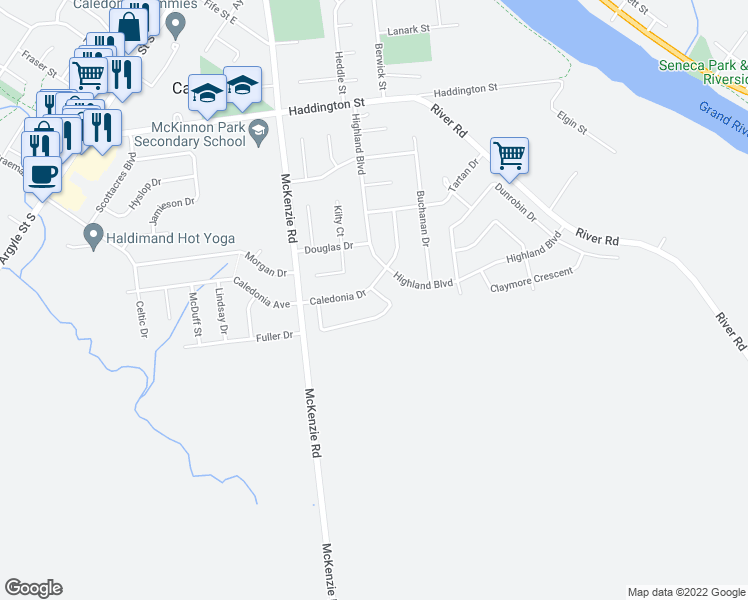 map of restaurants, bars, coffee shops, grocery stores, and more near 51 Clansman Crescent in Caledonia