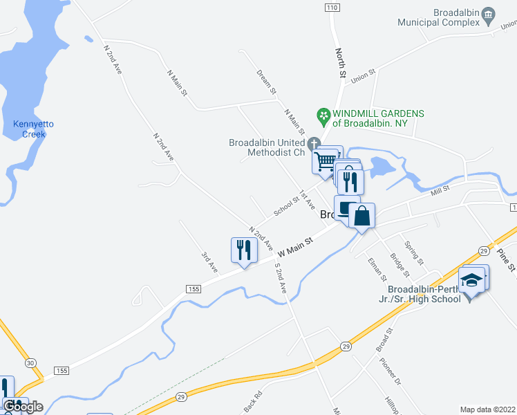 map of restaurants, bars, coffee shops, grocery stores, and more near Rose Lane in Broadalbin