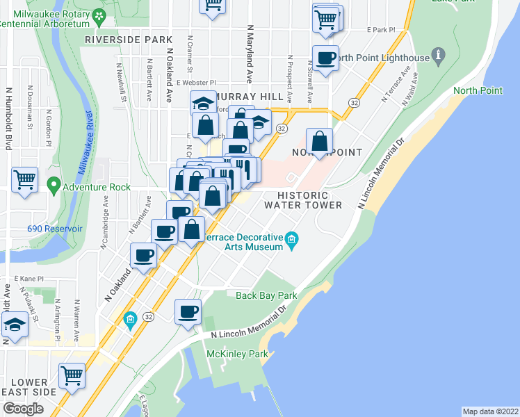 map of restaurants, bars, coffee shops, grocery stores, and more near 2260 North Summit Avenue in Milwaukee